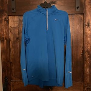 Nike Dri-Fit 1/4 Zip Pullover Large Blue